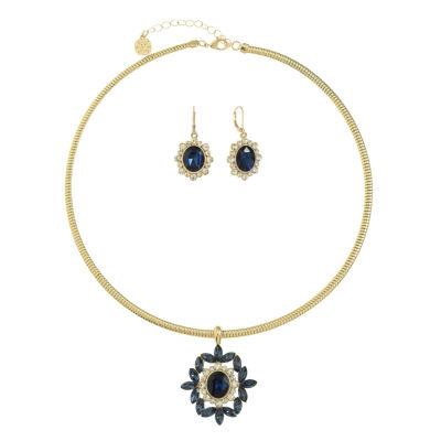 Monet Jewelry Blue Gold Tone Jewelry Set