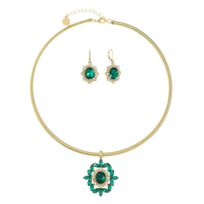 Monet Jewelry Green Gold Tone Jewelry Set