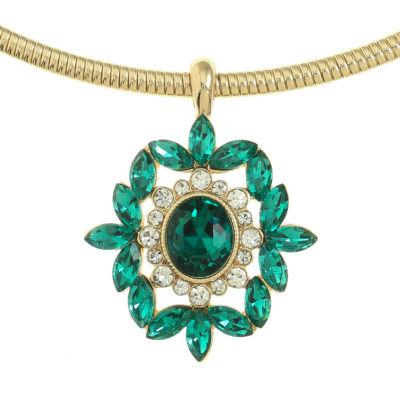 Monet Jewelry Womens Green Gold Tone Jewelry Set