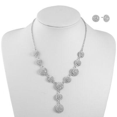 Monet Jewelry White Silver Tone Jewelry Set
