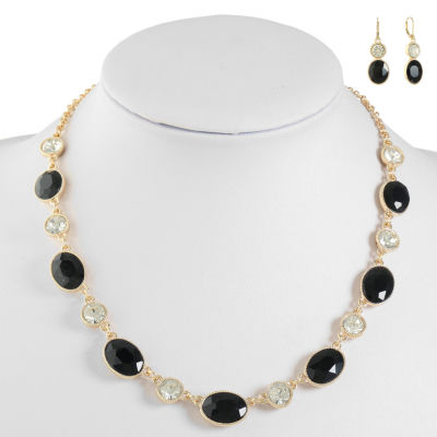 Monet Jewelry Womens Black Jewelry Set