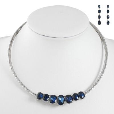 Monet Jewelry Blue Silver Tone Jewelry Set