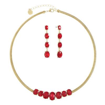 Monet Jewelry Womens Red Gold Tone Jewelry Set