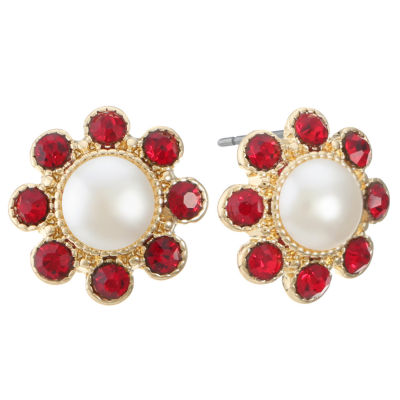 Monet Jewelry Red 15.7mm Stud Earrings