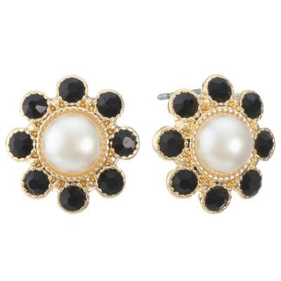 Monet Jewelry Black 15.7mm Stud Earrings