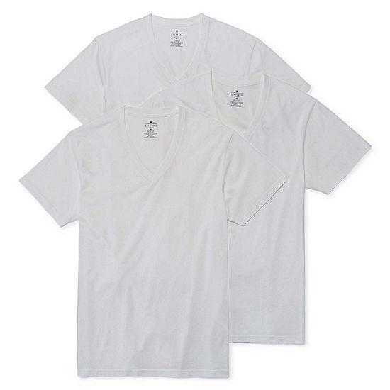 Stafford 3 Pk Cotton Stretch V Neck T Shirts