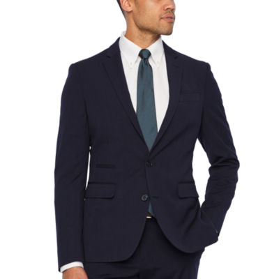 JF J.Ferrar 360 Stretch Navy Fine Stripe Slim Fit Suit Jacket