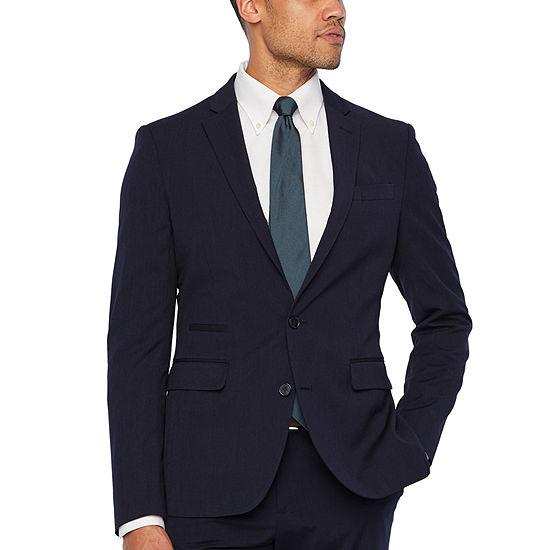JF J.Ferrar 360 Stretch Navy Fine Stripe Slim Fit Suit Jacket