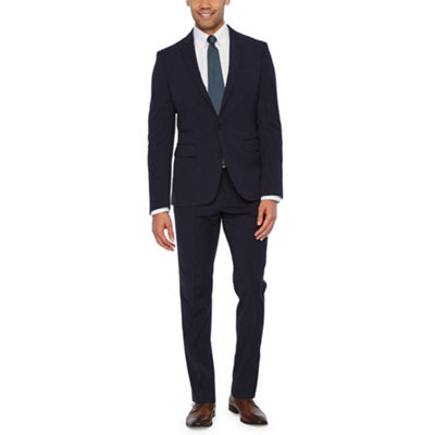 JF J. Ferrar 360 Stretch Navy Fine Stripe Slim Fit Suit Separates