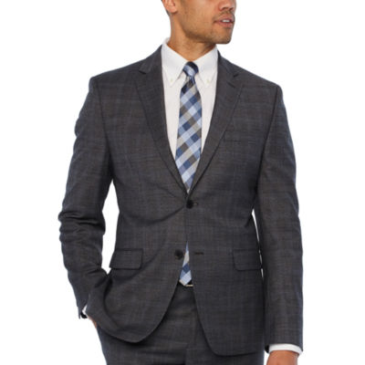 Collection by Michael Strahan  Gray Checked Slim Fit Stretch Suit Jacket