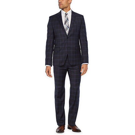 Collection by Michael Strahan Blue Plaid Slim Fit Stretch Suit Separates