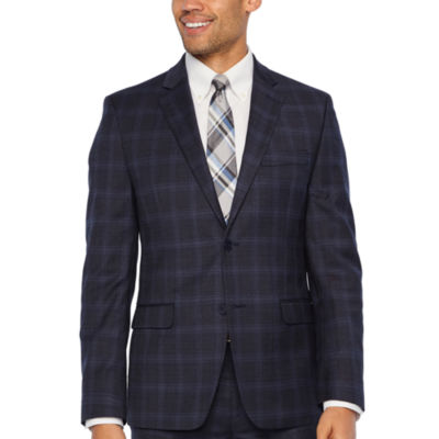 Collection by Michael Strahan  Blue Plaid Slim Fit Stretch Suit Jacket