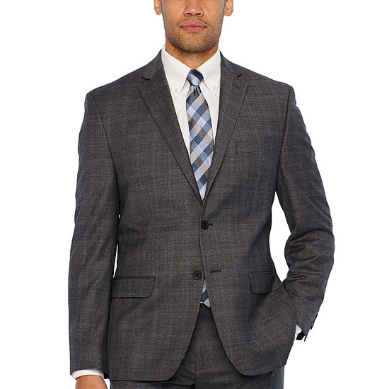 Collection by Michael Strahan  Gray Mens Checked Classic Fit Suit Jacket