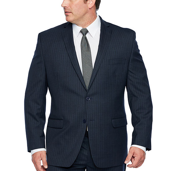 Collection by Michael Strahan -Big and Tall Blue Striped Stretch Suit Jacket