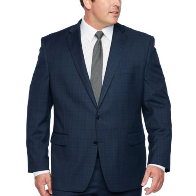 Shaquille O'Neal XLG Blue Plaid Stretch Suit Jacket - Big and Tall