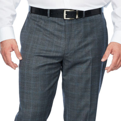 Collection by Michael Strahan  - Big and Tall Gray Checked Classic Fit Stretch Suit Pants