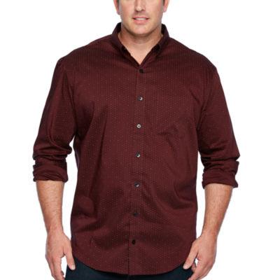Van Heusen Long Sleeve Dots Button-Front Shirt-Big and Tall