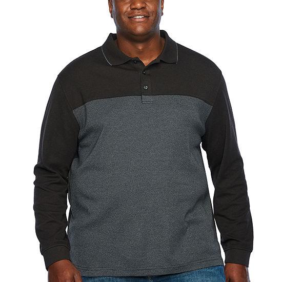 Van Heusen Long Sleeve Stripe Polo Shirt- Big and Tall