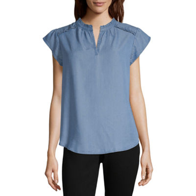 Liz Claiborne Short Sleeve Split Crew Neck Woven Blouse