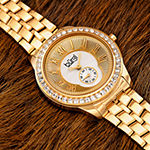 Burgi Set With Swarovski Crystals Womens Gold Tone Stainless Steel Strap Watch-B-106yg