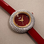 Burgi Set With Swarovski Crystals Womens Red Leather Strap Watch-B-195rd