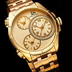 Joshua & Sons Mens Gold Tone Stainless Steel Strap Watch-J-128yg