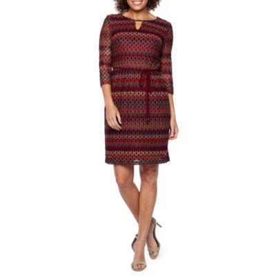 Studio 1 3/4 Sleeve Stripe Crochet Shift Dress