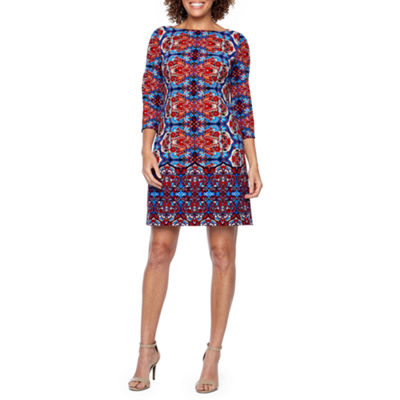 London Times 3/4 Sleeve Shift Dress