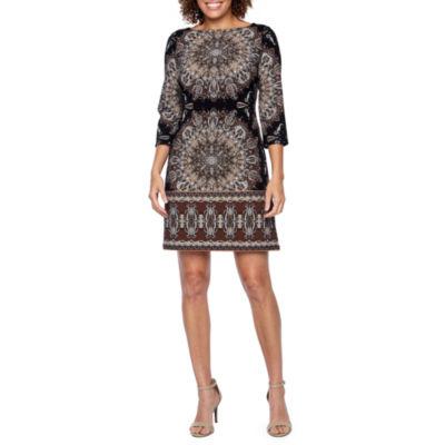 London Times 3/4 Sleeve Pattern Shift Dress