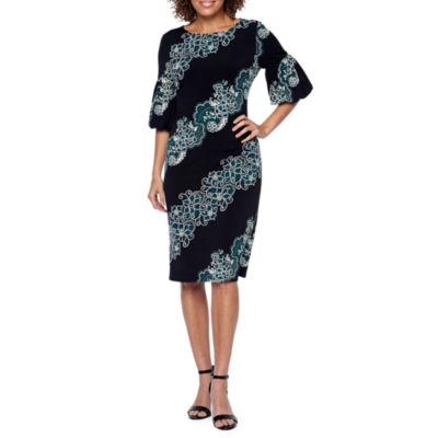 Ronni Nicole Short Sleeve Paisley Sheath Dress