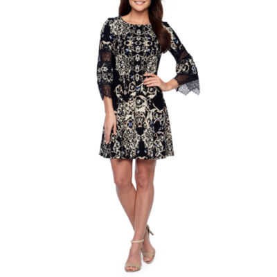 Danny & Nicole 3/4 Sleeve Lace Damask Sheath Dress