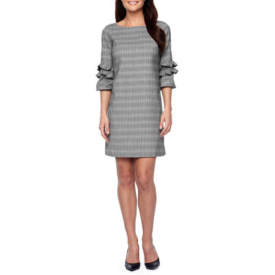 Danny & Nicole 3/4 Sleeve Plaid Shift Dress