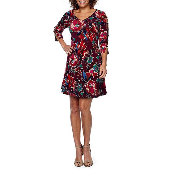 MSK 3/4 Sleeve Floral Fit & Flare Dress