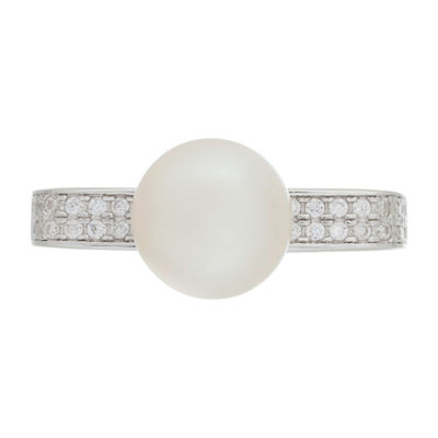 Womens 3mm 8MM White Cultured Freshwater Pearl Cocktail Ring