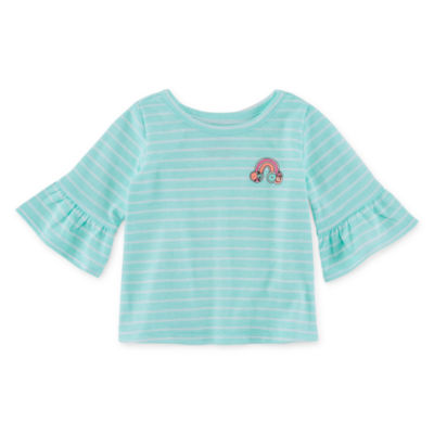 Okie Dokie Girls Crew Neck Long Sleeve Graphic T-Shirt-Baby