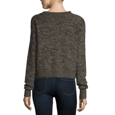 Arizona Womens Crew Neck Long Sleeve Pullover Sweater-Juniors