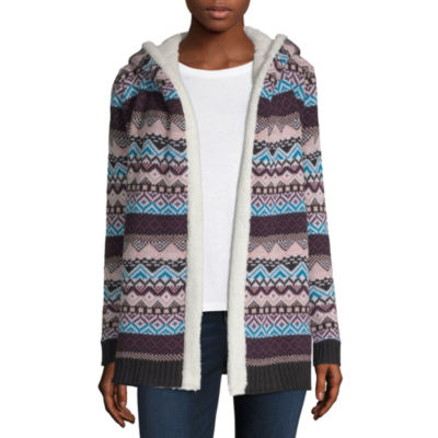 Arizona Womens Long Sleeve Pattern Cardigan-Juniors
