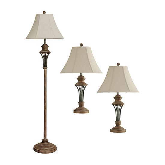 Stylecraft Wood 3-pc. Lamp Set