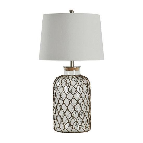 Stylecraft Roped Coastal Seeded Glass Table Lamp