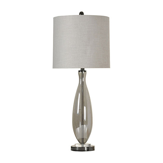 Stylecraft Black Nickel Glass Table Lamp