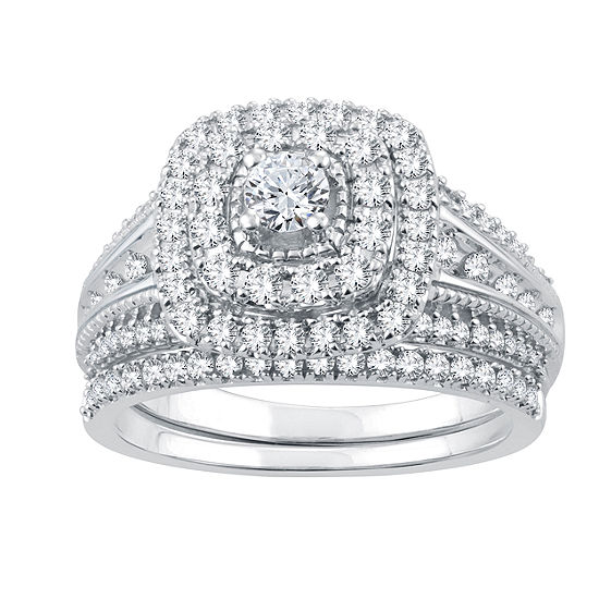 Womens 1 CT. T.W. Genuine White Diamond 10K White Gold Bridal Set Ring
