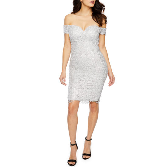 Premier Amour Short Sleeve Off The Shoulder Jewel Lace  Sheath Dress