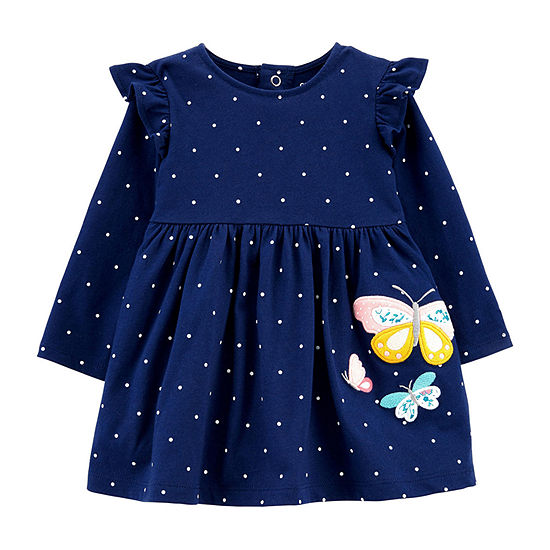 Carter's Baby Girls Long and Fitted Sleeve Polka Dot A-Line Dress