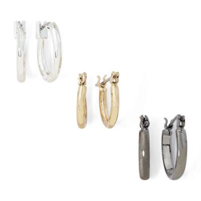 Sensitive Ears Tri-Tone 3-pr. Hoop Earring Set