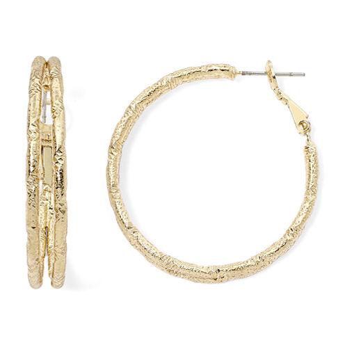 Sensitive Ears Gold-Tone Etched Hoop Earrings