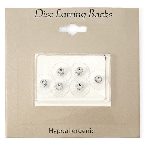 Sensitive Ears Silver Tone 6 Pk Replacement Disc Earring Backs