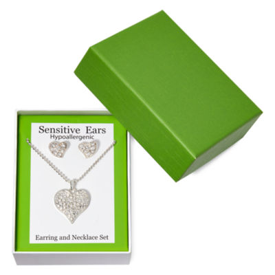 Sensitive Ears Heart Earring and Necklace Set