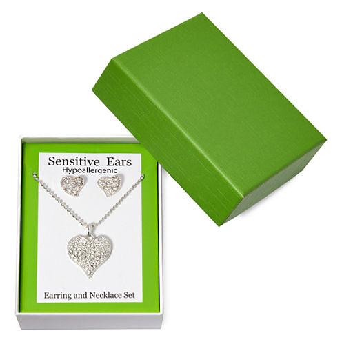 Sensitive Ears Heart Earring and Necklace Set