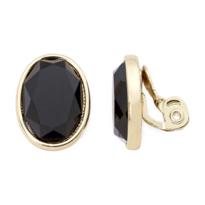 Monet® Black Stone Clip-On Earrings