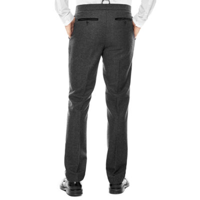 WD.NY Charcoal Twill Flat-Front Suit Pants - Slim Fit